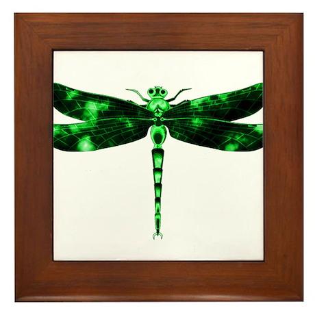 Green Dragonfly Framed Tile