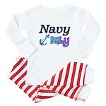 Navy Baby blue anchor Baby Pajamas
