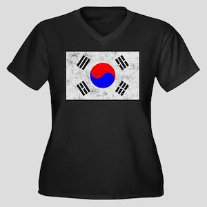 South Korea Women's Plus Size V-Neck Dark T-Shirt