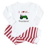 I Love Green Tractors Baby Pajamas