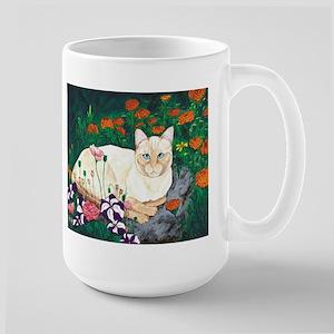 Cat In the garden Large Mug - 14 oz