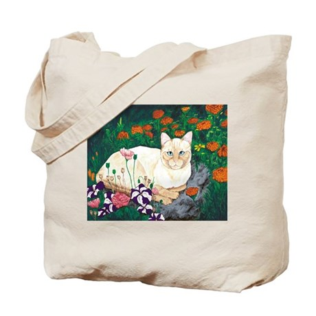 Cat in the Garden Tote Bag