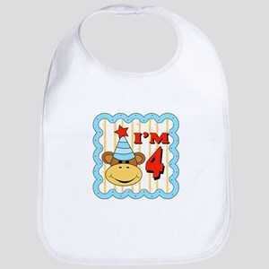Fourth Birthday Monkey Bib
