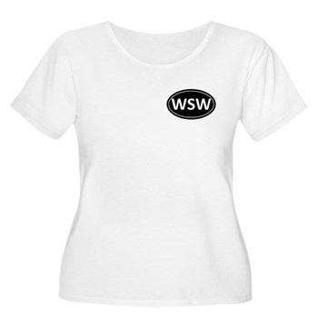 WSW Black Euro Oval Women's Plus Size Scoop Neck T