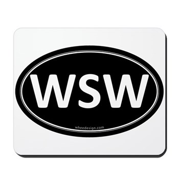 WSW Black Euro Oval Mousepad