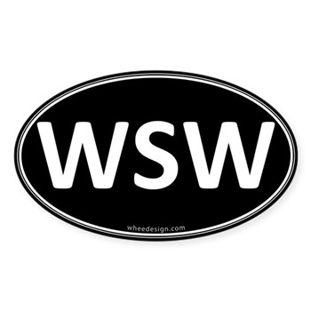 WSW Black Euro Oval Oval Sticker