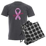 Custom Pink Ribbon Men's Charcoal Pajamas