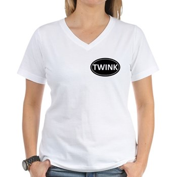 TWINK Black Euro Oval Women's V-Neck T-Shirt