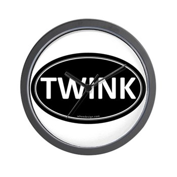 TWINK Black Euro Oval Wall Clock