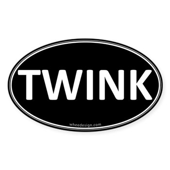 TWINK Black Euro Oval Oval Sticker (10 pk)