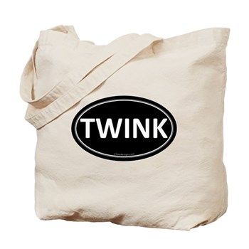 TWINK Black Euro Oval Tote Bag