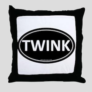 TWINK Black Euro Oval Throw Pillow