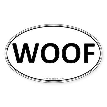 WOOF Euro Oval Oval Sticker
