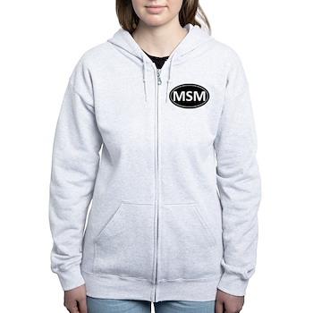 MSM Black Euro Oval Women's Zip Hoodie