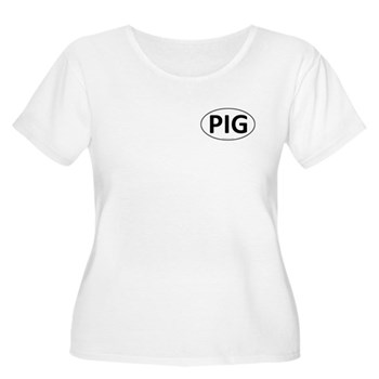 PIG Euro Oval Women's Plus Size Scoop Neck T-Shirt