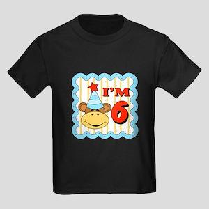 Sixth Birthday Monkey Kids Dark T-Shirt