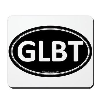 GLBT Black Euro Oval Mousepad