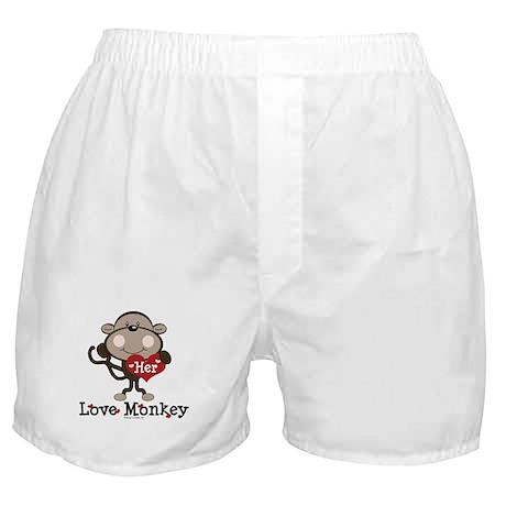 Her Love Monkey Valentine Boxer Shorts