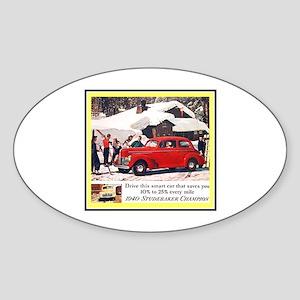 """1940 Studebaker Ad"" Oval Sticker"