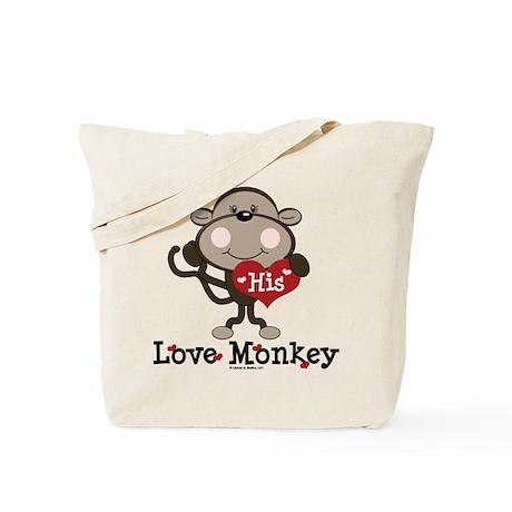 His Love Monkey Valentine Tote Bag