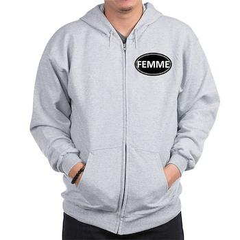 FEMME Black Euro Oval Zip Hoodie