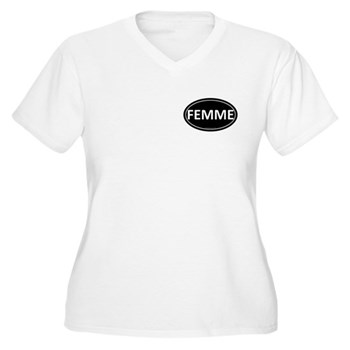 FEMME Black Euro Oval Women's Plus Size V-Neck T-S