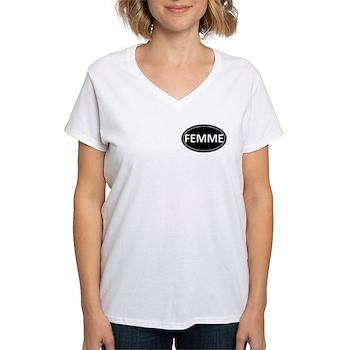 FEMME Black Euro Oval Women's V-Neck T-Shirt