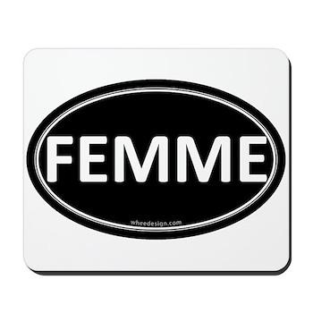 FEMME Black Euro Oval Mousepad