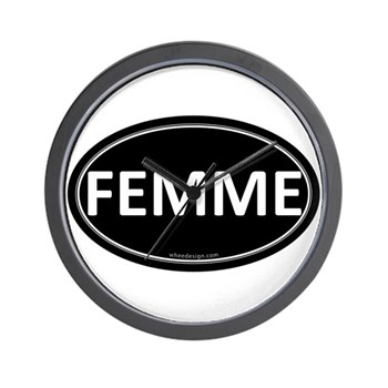 FEMME Black Euro Oval Wall Clock