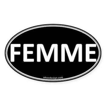 FEMME Black Euro Oval Oval Sticker