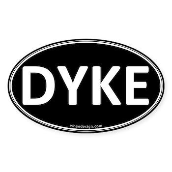 DYKE Black Euro Oval Oval Sticker