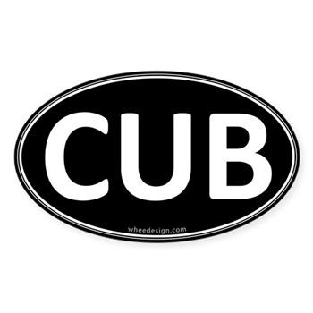 CUB Black Euro Oval Oval Sticker (10 pk)