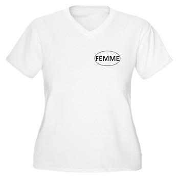 FEMME Euro Oval Women's Plus Size V-Neck T-Shirt