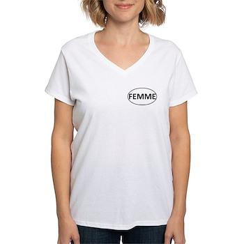 FEMME Euro Oval Women's V-Neck T-Shirt