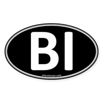 BI Black Euro Oval Oval Sticker (50 pk)