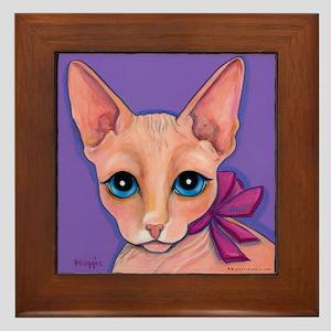 Sphinx Hairless Cat Framed Tile