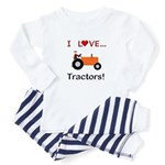 I Love Orange Tractors Baby Pajamas