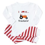 I Love Orange Tractors Baby Pajamas