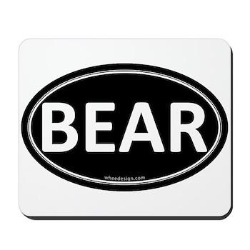 BEAR Black Euro Oval Mousepad