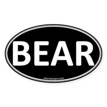 BEAR Black Euro Oval Oval Sticker (50 pk)