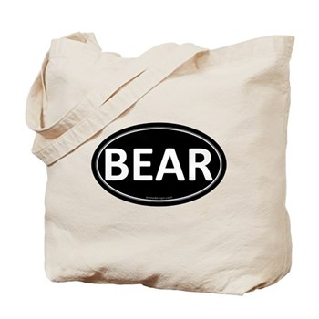 BEAR Black Euro Oval Tote Bag