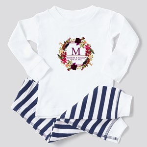 Boho Wreath Wedding Monogram Baby Pajamas