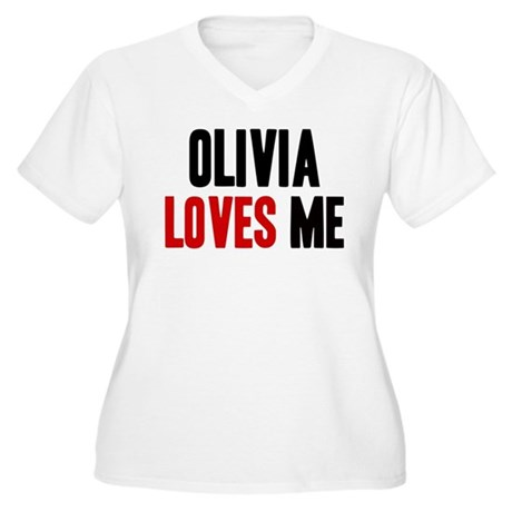 Olivia loves me Women's Plus Size V-Neck T-Shirt