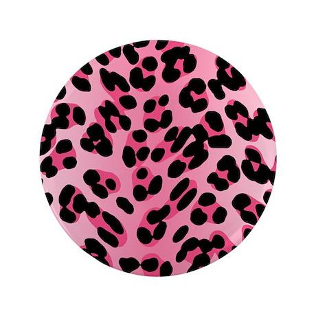 "Pink Leopard Print Motif 3.5"" Button"