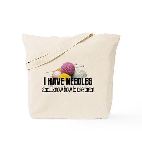 Knitting Needles Tote Bag