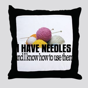 Knitting Needles Throw Pillow