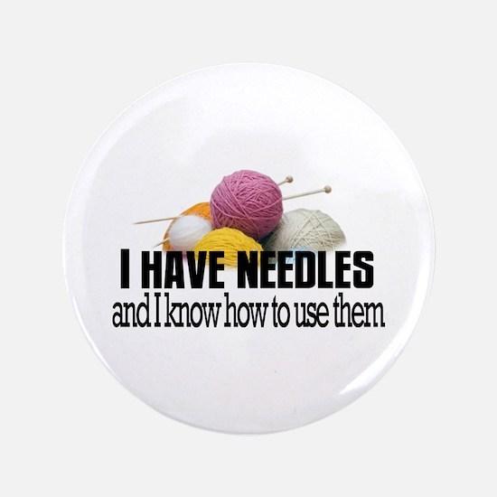 "Knitting Needles 3.5"" Button"
