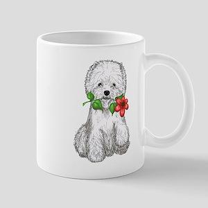 Westie with Flower Mug