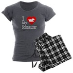 I Love My Schnauzer Women's Charcoal Pajamas