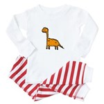 Orange Dinosaur Baby Pajamas